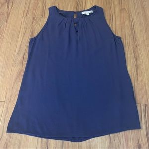 Banana Republic Navy Keyhole Sleeveless Blouse